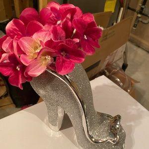 Shoe vase-silver